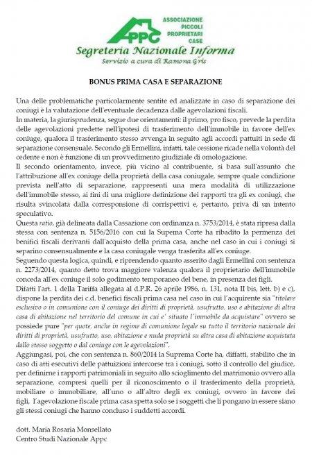 BONUS PRIMA CASA E SEPARAZIONE