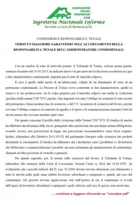CONDOMINIO E RESPONSABILITA' PENALE