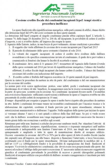CESSIONE CREDITO FISCALE DEI CONDOMINI INCAPIENTI IRPEF